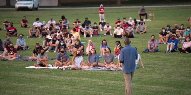 President Joe Manickam addresses Opening Weekend crowd, August 14