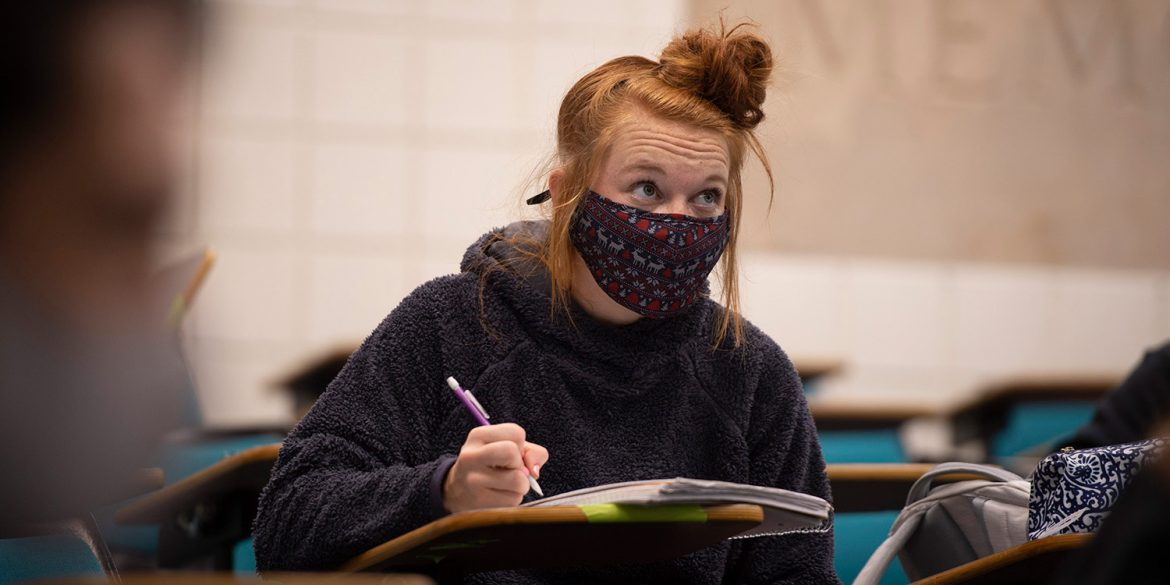 Hesston College student in general psychology class
