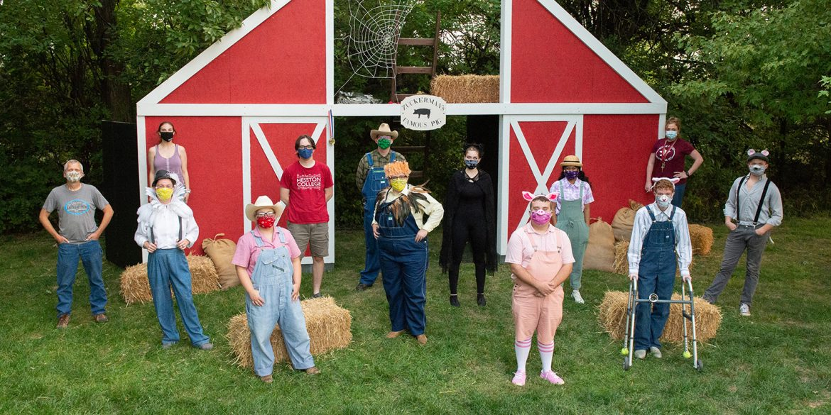 cast and crew photo from the fall 2020 Hesston College Theatre production of Charlotte's Web