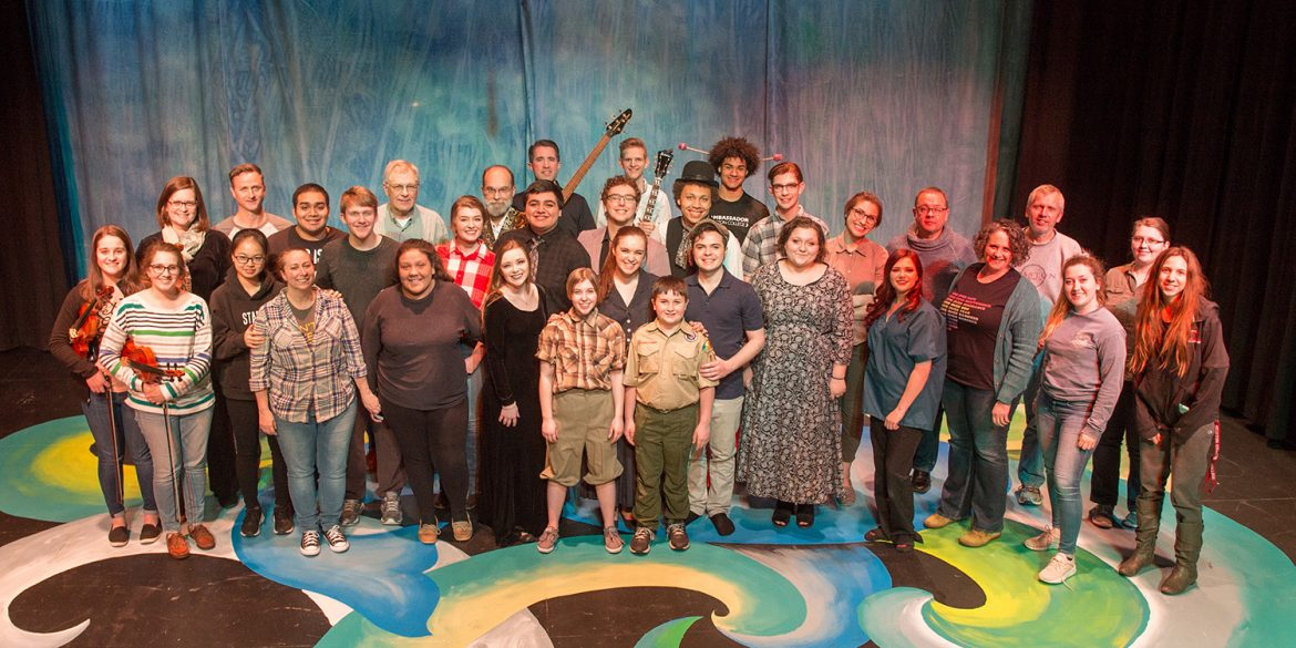 Cast and crew photo from the spring 2019 Hesston College Theatre production of Big Fish