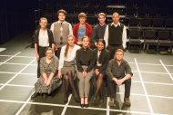 cast photo from the fall 2019 Hesston College Theatre production of The Curious Case of the Dog in the Night-Time