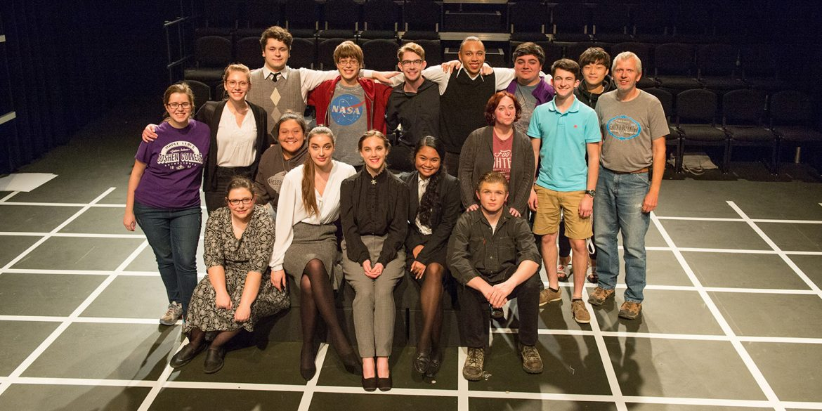 cast and crew photo from the Hesston College Theatre production of The Curious Case of the Dog in the Night-Time