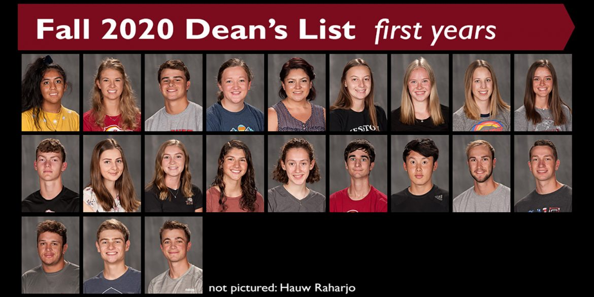 Fall 2020 Dean's List - first-year students