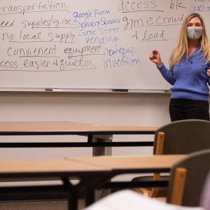 Business prof Debbie McAlister leads a discussion in Entrepreneurship class.