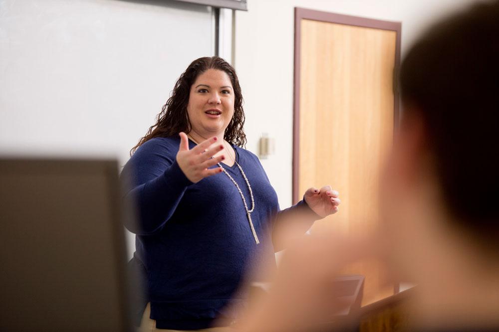 Professor Amy Birdsell teaching an aviation course