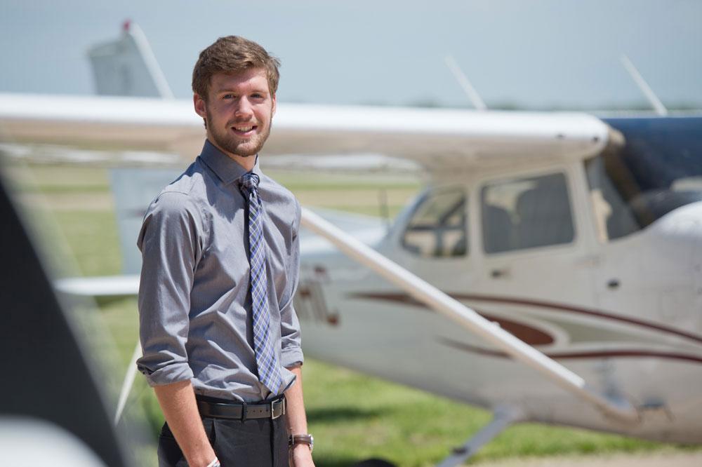 Hesston College Aviation student, Chris Lichti