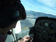 Hesston College Aviation student during flight