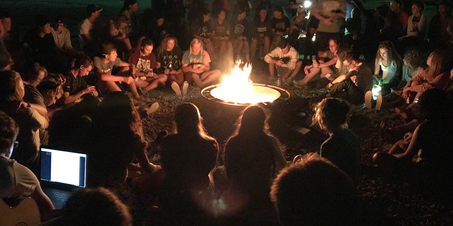 Campus Worship at the fire pit